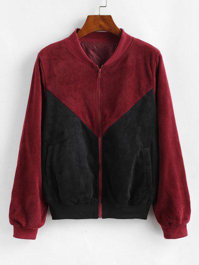 ZAFUL Velvet Color Block Jacket - Black L