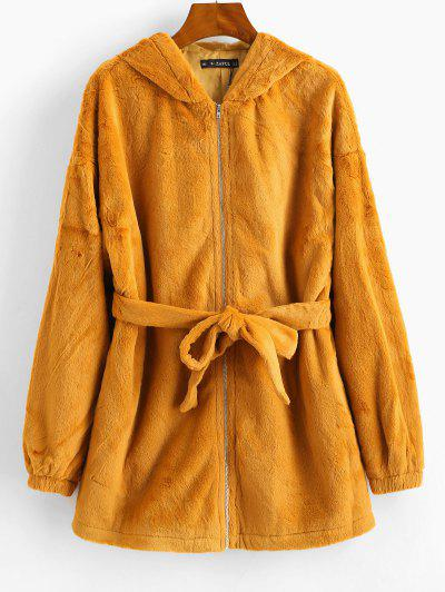 ZAFUL Zip Up Faux Fur Hooded Knotted Coat - Tiger Orange L