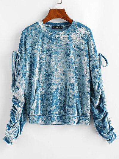 ZAFUL Pouch Pocket Crushed Velvet Sweatshirt - Blue Ivy S