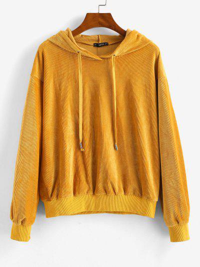 ZAFUL Velvet Tunic Drop Shoulder Hoodie - Bee Yellow M
