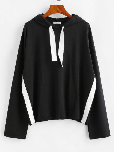 ZAFUL Drawstring Drop Shoulder Sports Hoodie - Black L