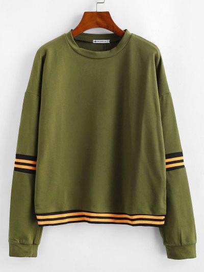 ZAFUL Drop Shoulder Striped Sweatshirt - Army Green L