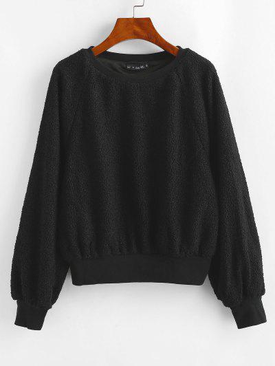 ZAFUL Raglan Sleeve Faux Shearling Teddy Sweatshirt - Black