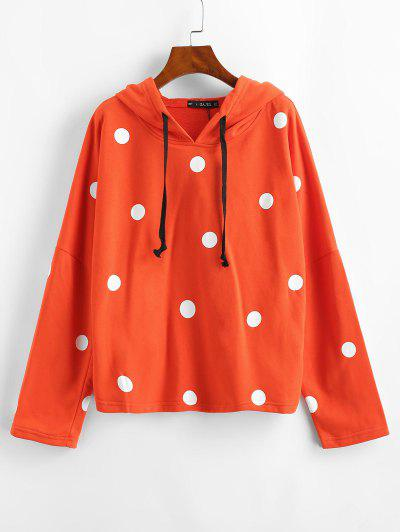 Drawstring Polka Dot Hoodie - Orange L