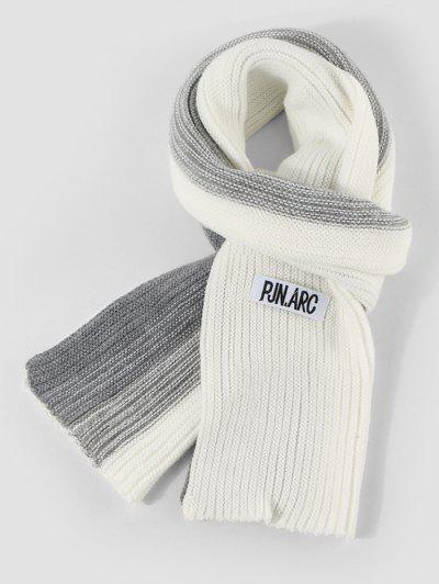 Gradient Winter Long Knitted Scarf - White
