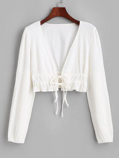 Ribbed Ruffle Tie Plunge Knit Crop Top - White M