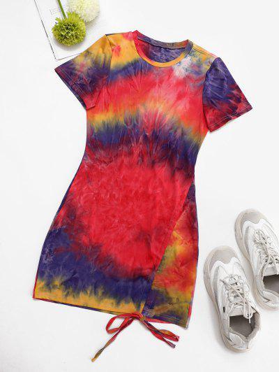 Colorful Tie Dye Cinched Slinky Dress - Multi S
