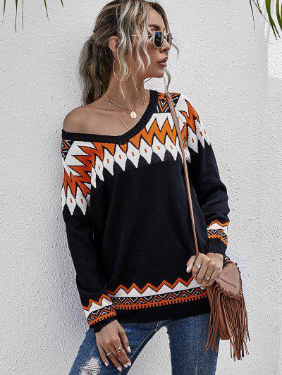 Zig Zag Raglan Sleeve Jumper Sweater - Black L