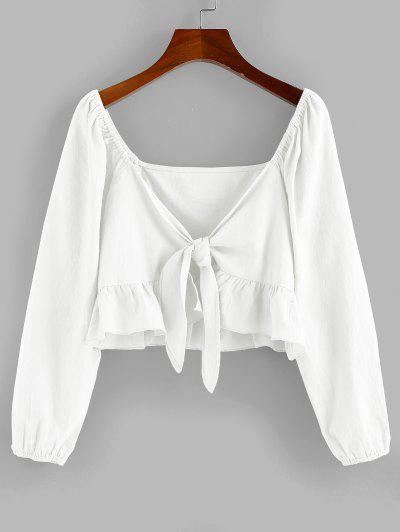 ZAFUL Flounce Tie Front Crop Blouse - Milk White S