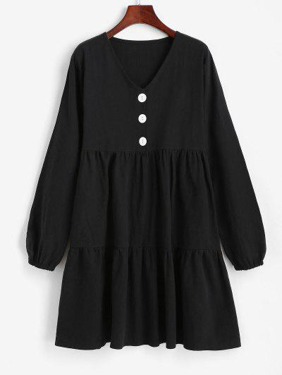 Half Button Tiered Smock Dress - Black M