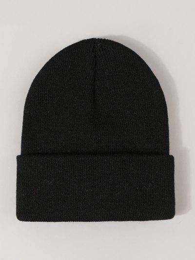 Winter Solid Turn Up Edge Knitted Hat - Black