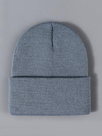 Winter Solid Turn Up Edge Knitted Hat - Battleship Gray