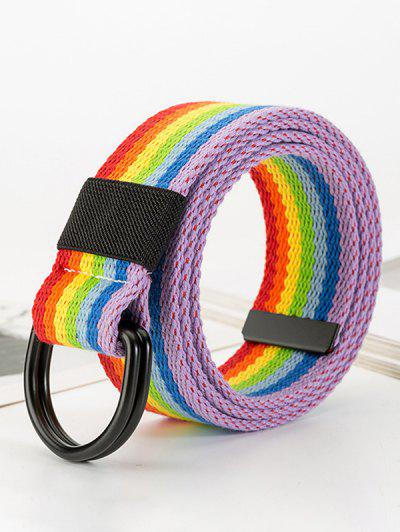 Rainbow Striped Buckle Woven Belt - Lava Red