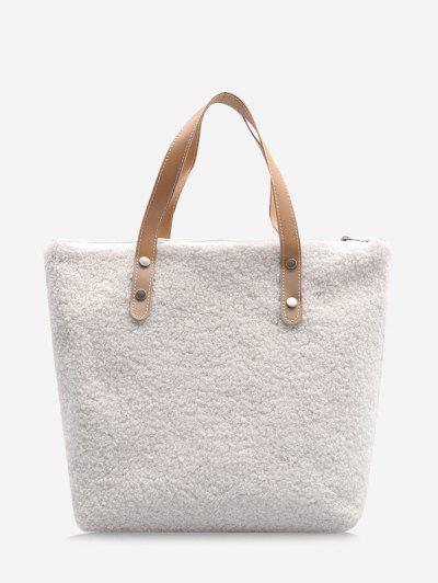 Teddy Faux Fur Tote Bag - Milk White