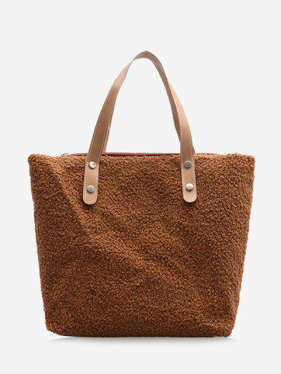 Teddy Faux Fur Tote Bag - Deep Brown