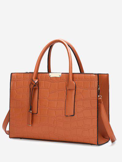 Solid Rectangle Embossed Handbag - Light Brown