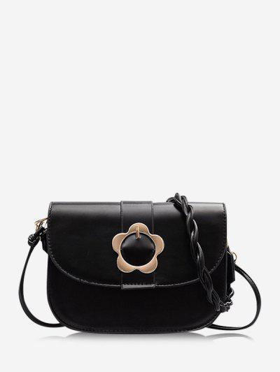 Braid String Flower Shape Lock Crossbody Bag - Black