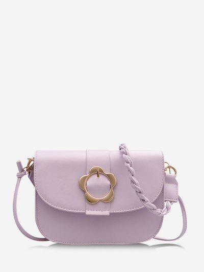 Braid String Flower Shape Lock Crossbody Bag - Light Purple