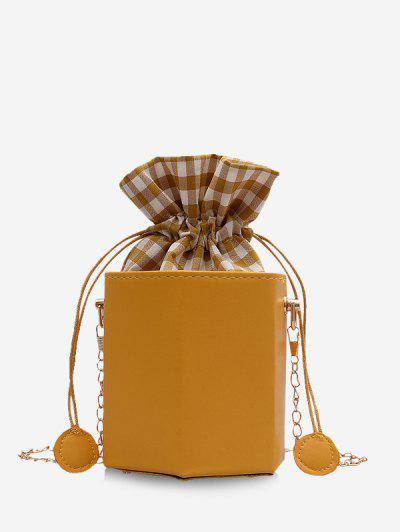 Plaid Pattern Drawstring Bucket Bag - Bee Yellow
