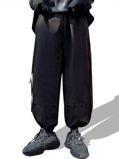 Toggle Drawstring Wide Leg Casual Pans - Black M