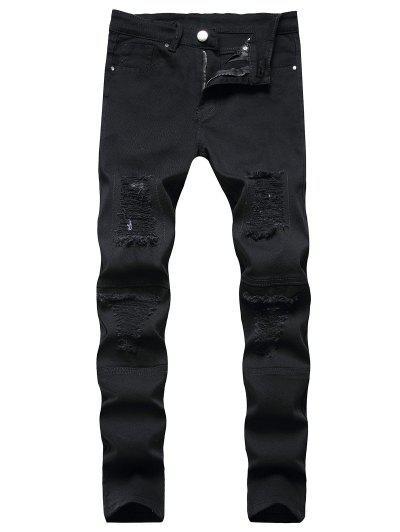 Distressed Destroy Wash Patchwork Jeans - Black 34
