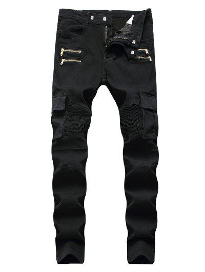 Pleated Patchwork Zipper Cargo Jeans - Black 32
