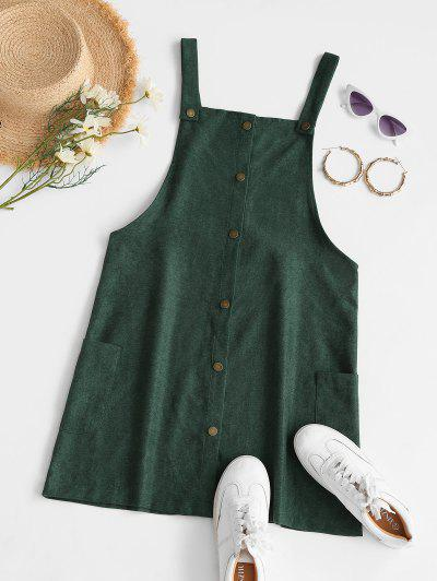 Corduroy Snap Button Overall Dress - Green M