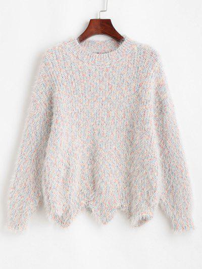 Heathered Scalloped Hem Fuzzy Sweater - Multi