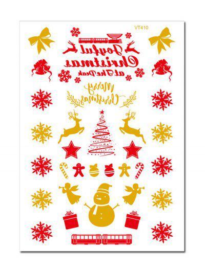 Removíveis Etiquetas Da Parede Com Padrão De Árvore De Natal E Floco De Neve - Dourado