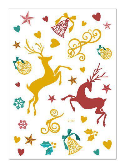 Christmas Elk Foil Print Tattoo Stickers - Multi