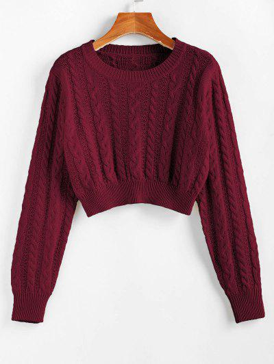 ZAFUL Cable Knit Openwork Crop Sweater - Red Wine M