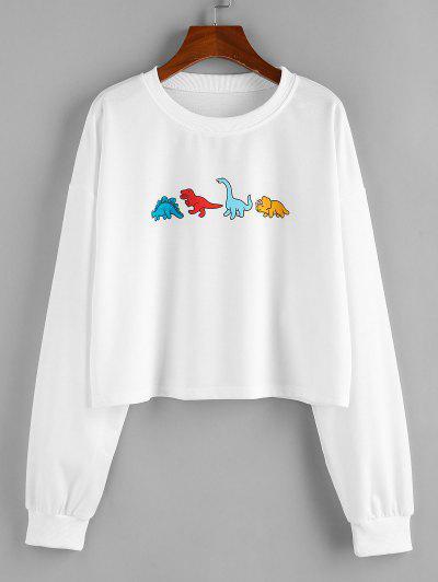 ZAFUL Dinosaur Print Drop Shoulder Cropped Sweatshirt - White Xl