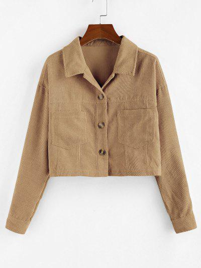 ZAFUL Corduroy Front Pockets Crop Jacket - Brown Sugar M