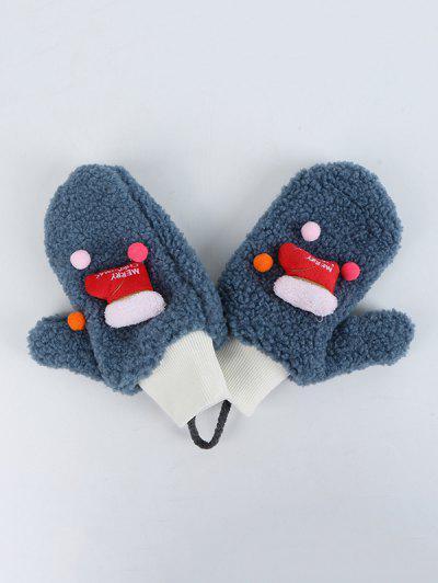 Christmas Stocking Pattern Sherpa Fleece Gloves - Marble Blue
