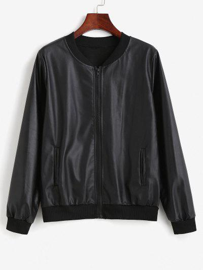 Zip Up Faux Leather Pockets Bomber Jacket - Black