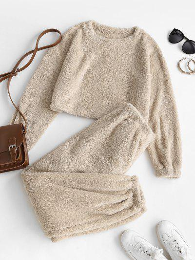 Lounge Fluffy Two Piece Teddy Top Pants Set - Coffee S