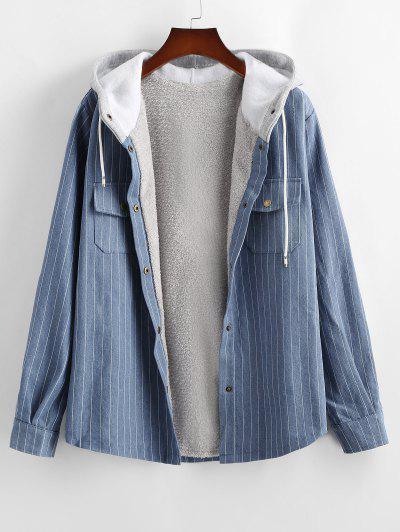 Striped Fleece Hooded Denim Jacket - Blue M