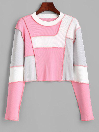 Ribbed Color Blocking Topstitch Cropped Tee - Light Pink L