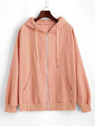 Pockets Drawstring Zip Up Oversize Hoodie - Light Salmon