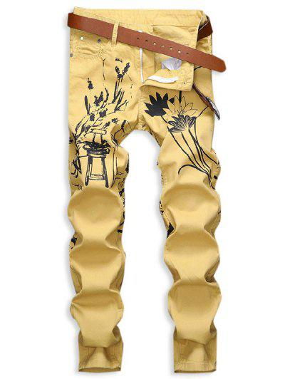 Chinese Painting Print Zip Fly Jeans - Yellow 32