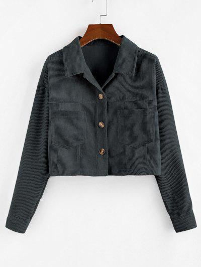ZAFUL Corduroy Front Pockets Crop Jacket - Gray S