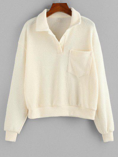 ZAFUL Drop Shoulder Pocket Half Button Sweater - White S