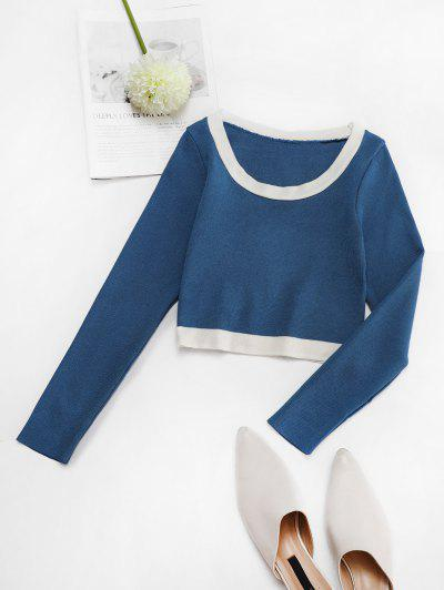 Fitted Contrast Cropped Knitwear - Blue