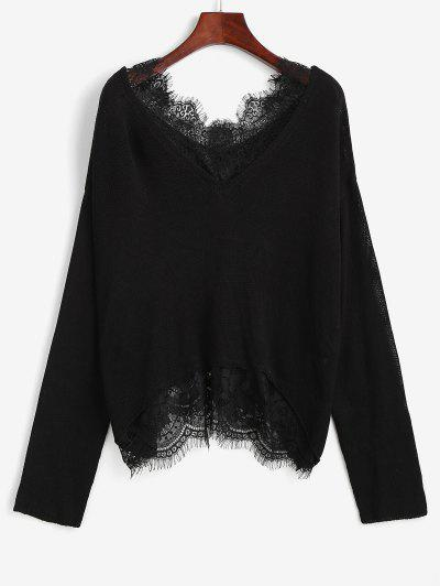 Lace Sheer Eyelash Drop Shoulder Sweater - Black M