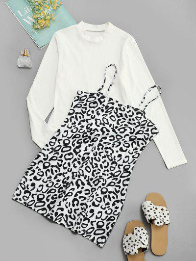 Ribbed Tee And Leopard Cami Dress Set - Black S