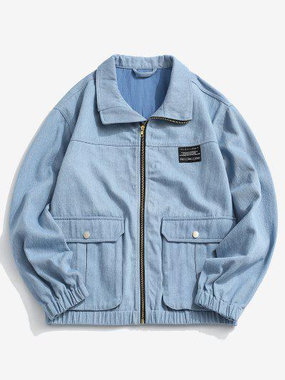 Flap Pocket Applique Patch Jean Jacket - Light Blue S