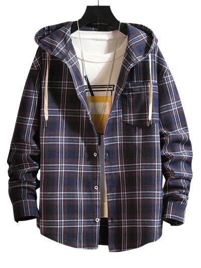Plaid Pattern Pocket Patch Hooded Shirt Jacket - Cadetblue L