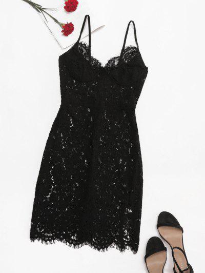 Eyelash Lace Bustier Slit Slinky Dress - Black M