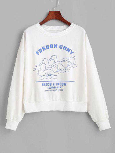 Sweat-shirt Graphique Canard Amusant à Col Rond - Blanc M