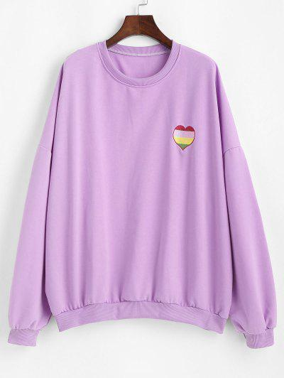 Oversize Colorful Heart Letter Embroidered Sweatshirt - Purple Daffodil Xl